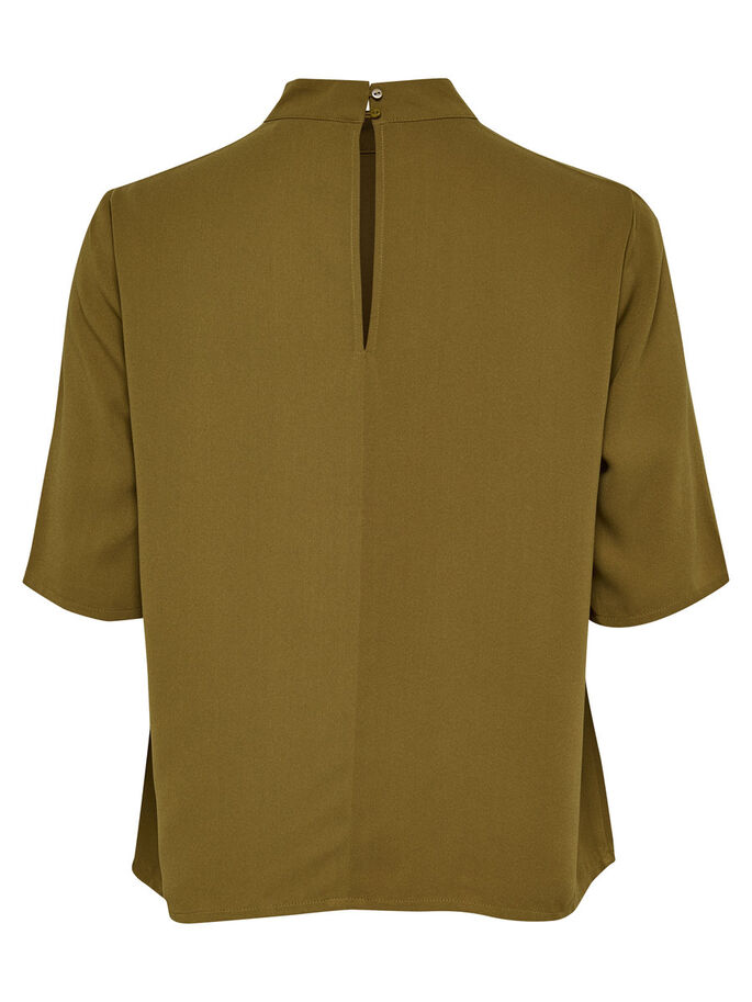 HIGH-NECK SHIRT MET 2/4 MOUWEN, Breen, large