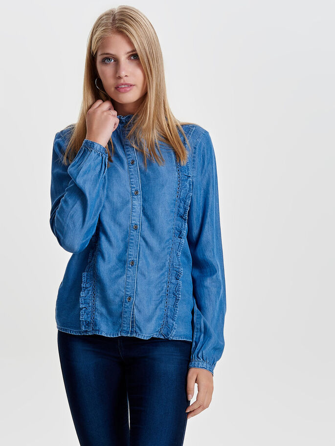 VOLANGPRYDD JEANSSKJORTA, Medium Blue Denim, large