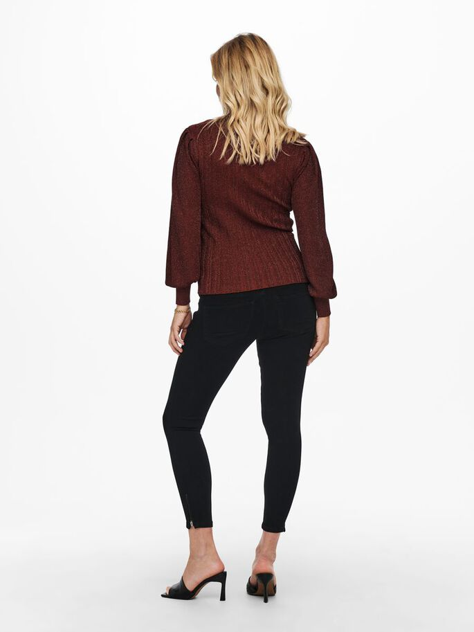 MAMA PUFF SLEEVES KNITTED PULLOVER, Roasted Russet, large