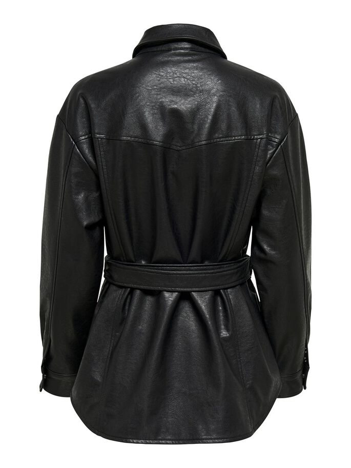 FAUX LEATHER SHIRT, Black, large