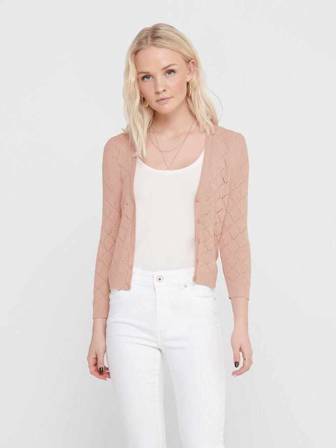 SHORT TEXTURE KNITTED CARDIGAN, Misty Rose, large
