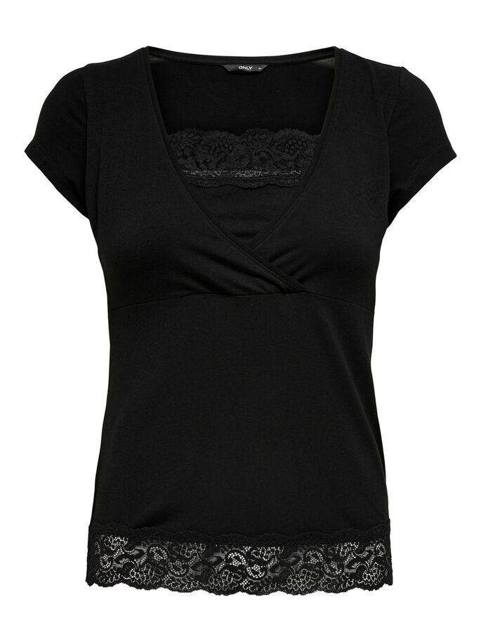 MAMA LACE DETAIL TOP, Black, large