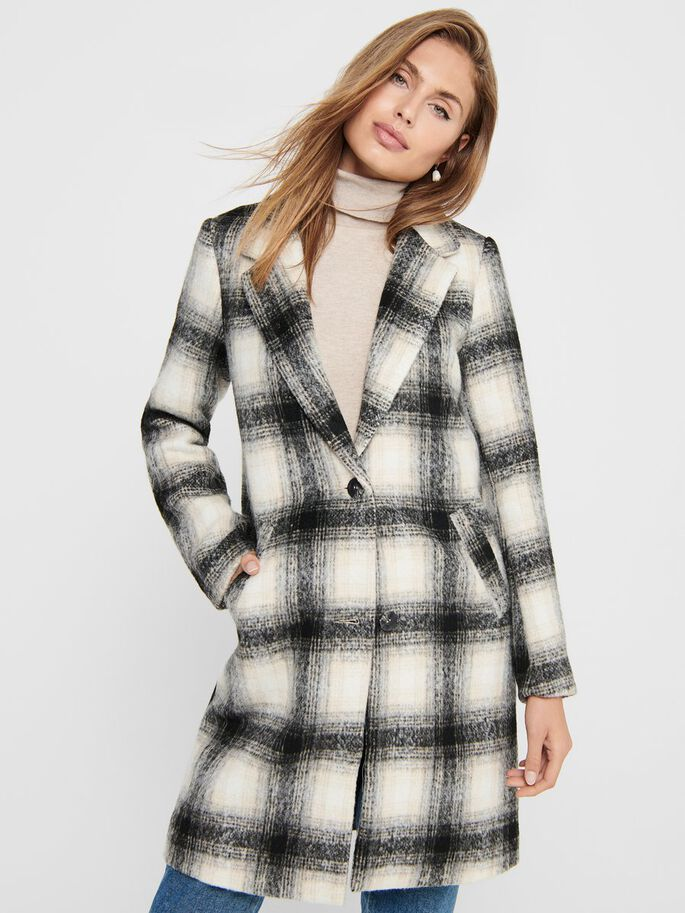 CHECKED COAT, Pumice Stone, large