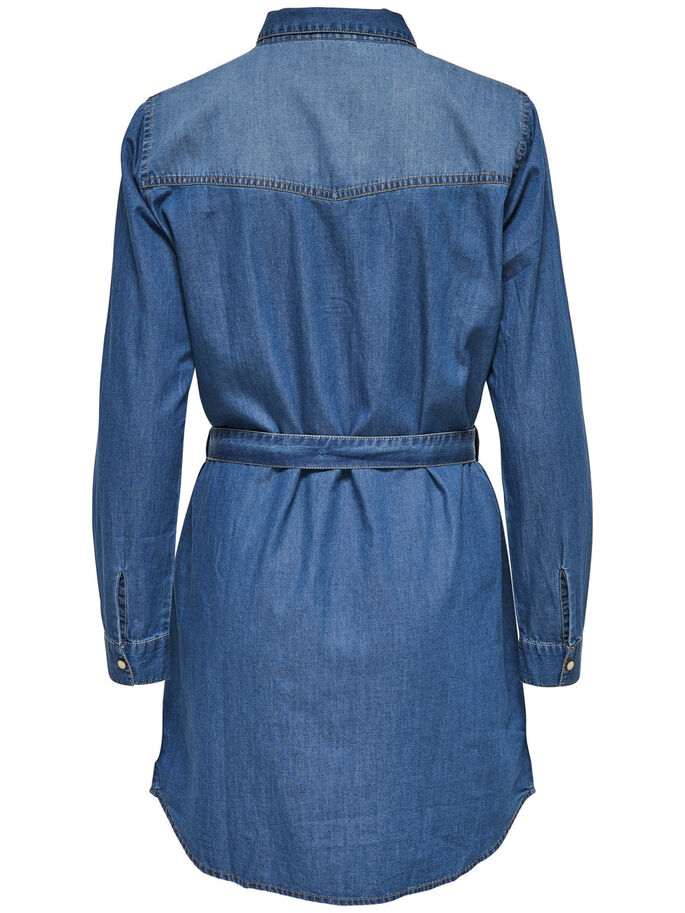 LÅNGÄRMAD JEANSKLÄNNING, Medium Blue Denim, large