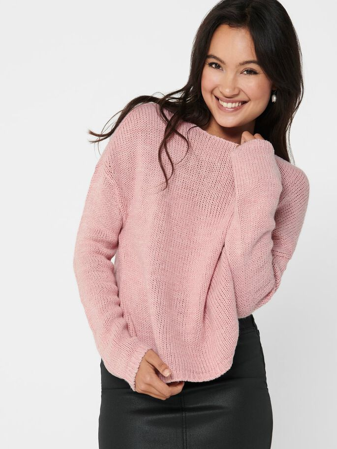 COUPE AMPLE PULL EN MAILLE, Cameo Rose, large