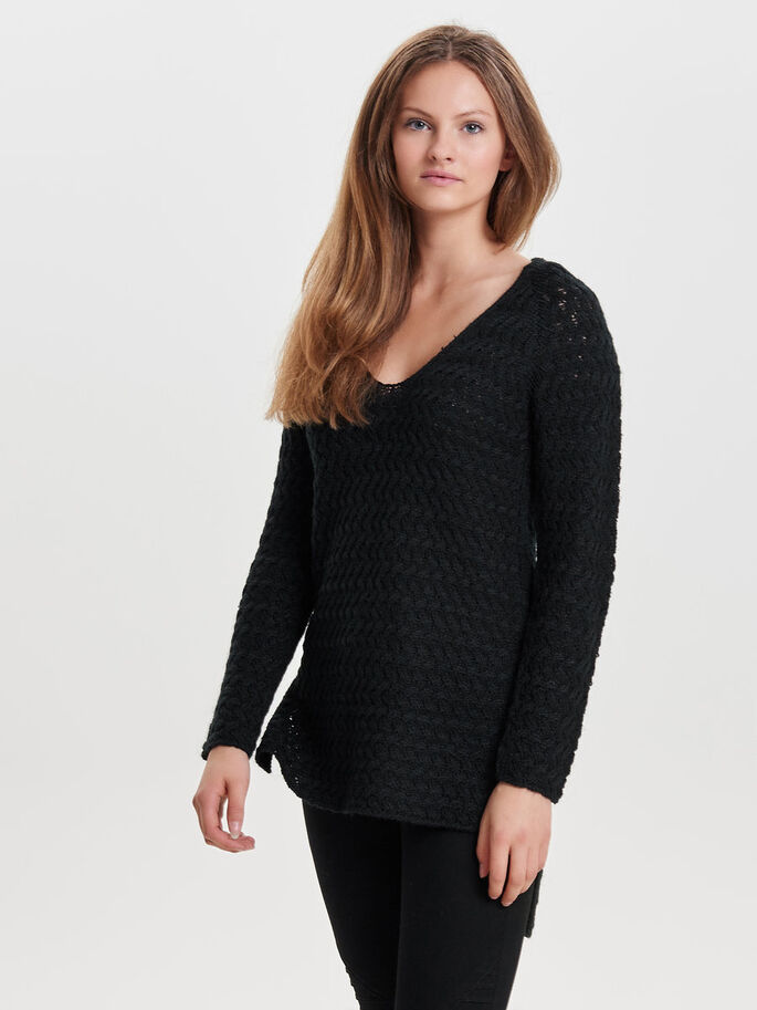 AVEC FINITIONS PULL EN MAILLE, Black, large