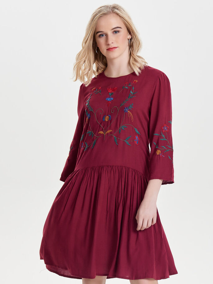 EMBROIDERY SHORT DRESS, Rhododendron, large