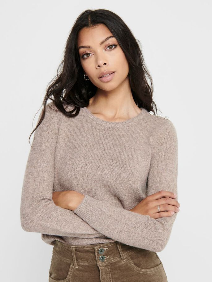 SOLID COLORED KNITTED PULLOVER, Toasted Coconut, large