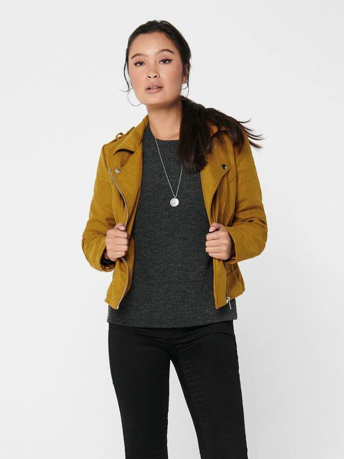 FAUX SUEDE BIKER JACKET, Golden Brown, large