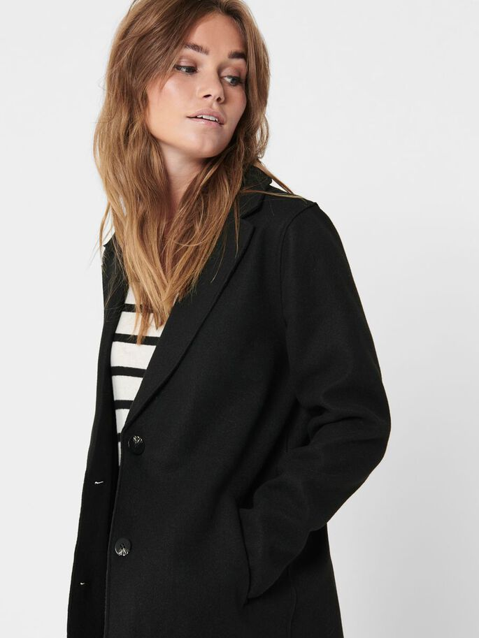 SOLID COLORED COAT, Black, large