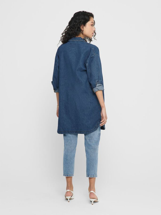 HANTVERKARINSPIRERAD JEANSSKJORTA, Medium Blue Denim, large
