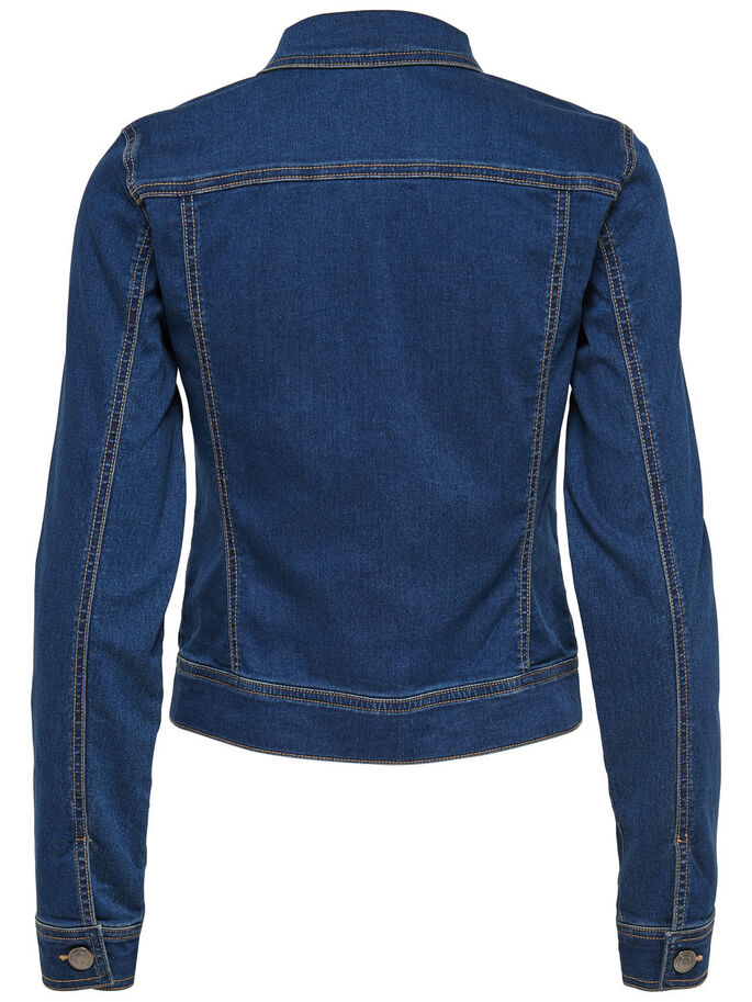 SHORT DENIM JACKET, Medium Blue Denim, large