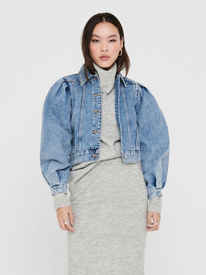PUFF SLEEVES DENIM JACKET, Light Blue Denim, large