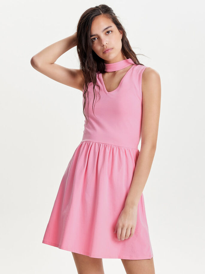 CHOKER SLEEVELESS DRESS, Prism Pink, large