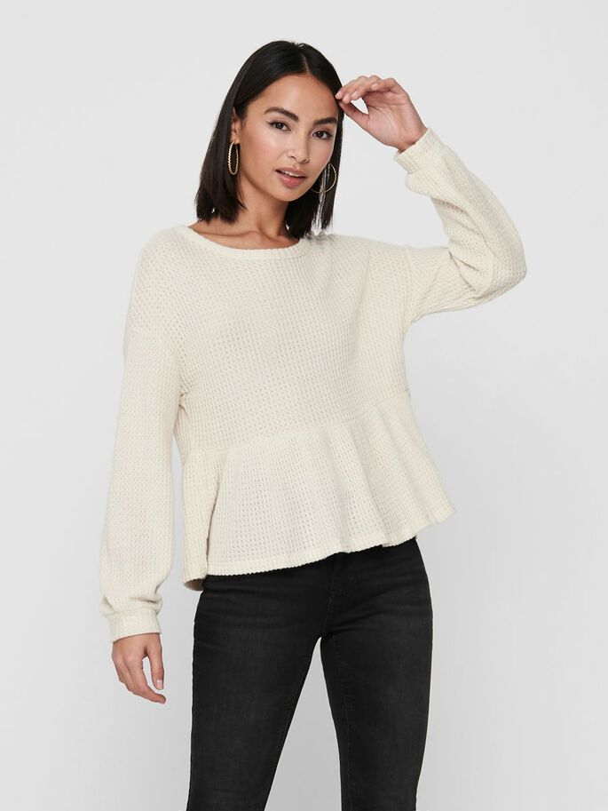 PEPLUM LONG SLEEVED TOP, Ecru, large