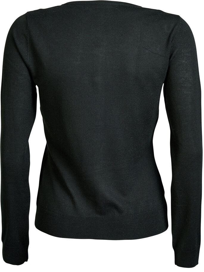 SOLID KNITTED CARDIGAN, Black, large
