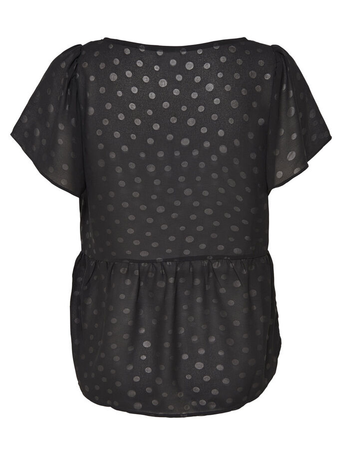 PEPLUM SHORT SLEEVED TOP, Black, large