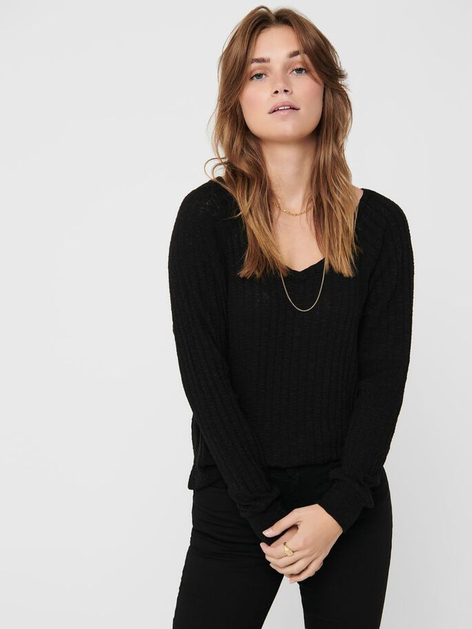 CON CUELLO EN PICO TOP, Black, large