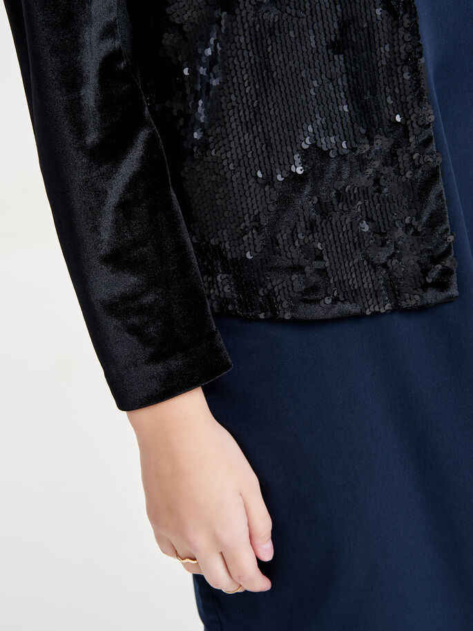 DRAPY SEQUINS BLAZER, Black, large