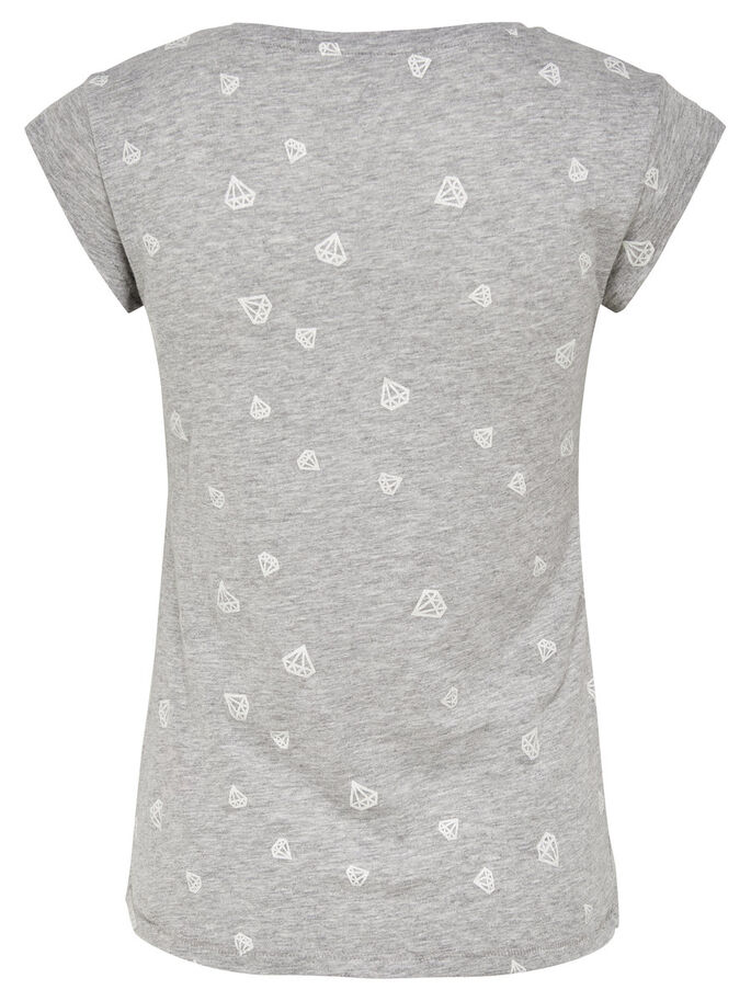 PRINTED SHORT SLEEVED TOP, Light Grey Melange, large