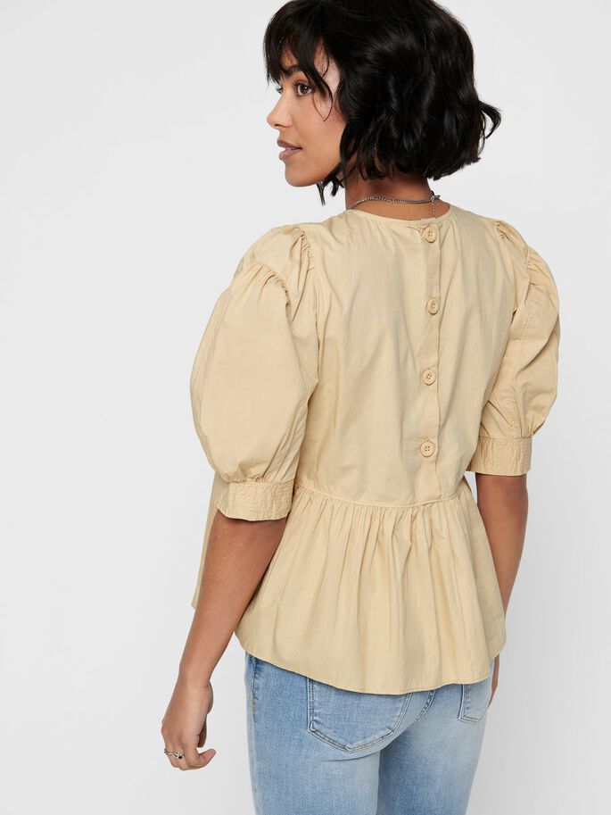 PUFF SLEEVE SHORT SLEEVED TOP, Warm Sand, large