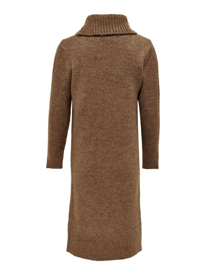 ROLL NECK KNITTED DRESS, Otter, large