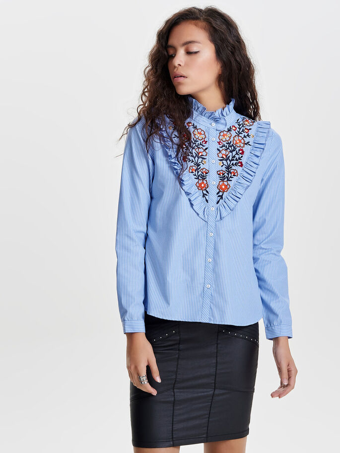 EMBROIDERY LONG SLEEVED SHIRT, Cashmere Blue, large
