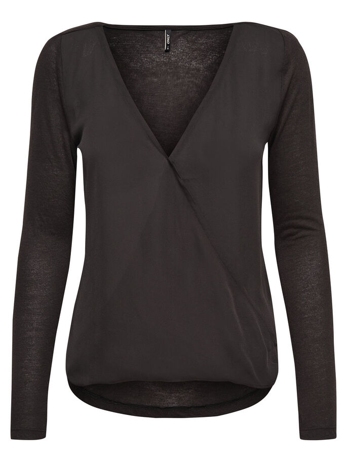 WRAP LONG SLEEVED TOP, Black, large