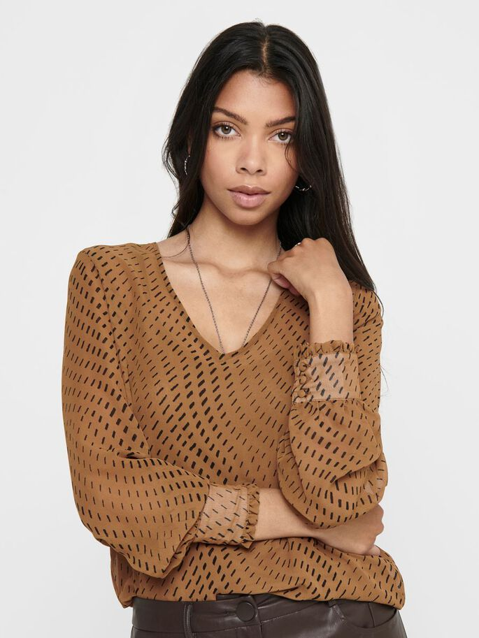 V-NECK TOP, Toasted Coconut, large