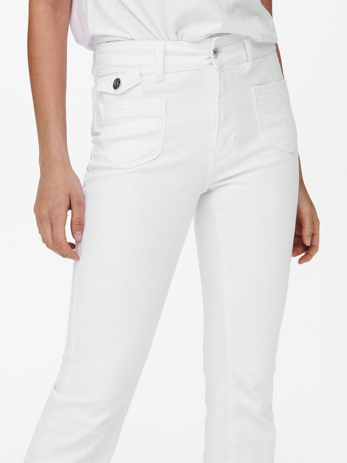 ONLEBBA HIGH WAISTED FLARED JEANS, White, large