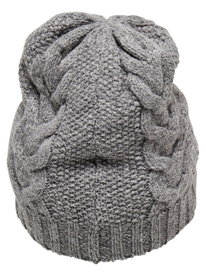 KNITTED HAT, Light Grey Melange, large