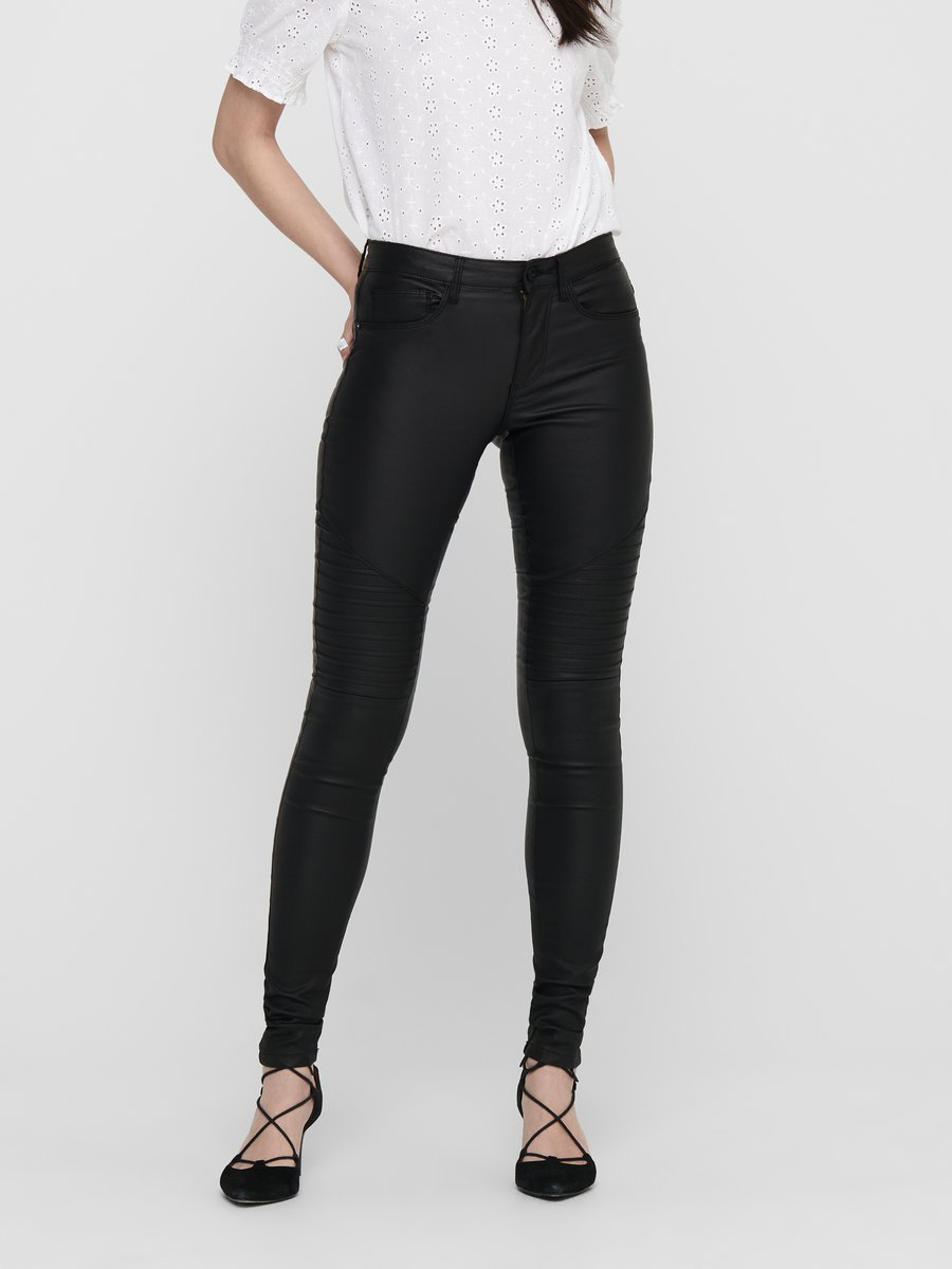 Only New Royal Coated Biker Skinny Fit Jeans Women